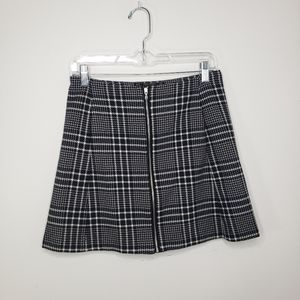 Zara Basic black and white check zip front skirt